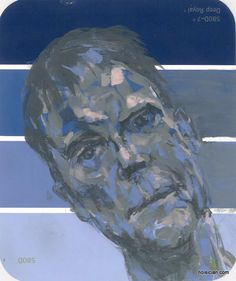 Blue man, by Jeff Wrench. Acrylic on paint chip.