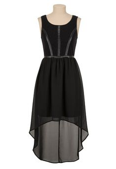 High-Low Faux Leather Trim Lace Dress (original price, $49) available at #Maurices