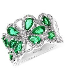 Brasilica by EFFY Emerald (2-1/5 ct. t.w.) and Diamond (1/2 ct. t.w.) Flower Ring in 14k White Gold