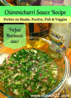 Try adding this at dinner!  Chimichurri Sauce Recipe!  Easy to make and delicious on Steaks, Poultry, Fish & Veggies!  You've gotta try it!  #Sauce #Marinade #Chimichurri