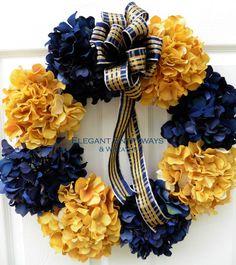 U of M Wreath Michigan Wreath University of Michigan U of M Hydrangea Colors, Hydrangea Wreath, Seasonal Decor, Fall Decor, Michigan Crafts, Sports Wreaths, Gold Wreath, University Of Michigan, Go Blue