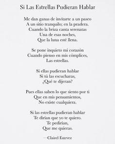 Sigue @clairelestevez en Instagram ⊱♡⊰ Si Las Estrellas Pudiera Hablar⊱♡⊰ _________________________________________________ . Palabras, poemas, poesías, letras, poemas de amor, escritos, literatura Poetry Quotes, Book Quotes, Words Quotes, Sayings, Motivational Phrases, Inspirational Quotes, Spanish Quotes Love, Star Love Quotes, Bohemian Quotes