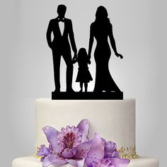 family Wedding Cake Topper Bride and Groom with by walldecal76