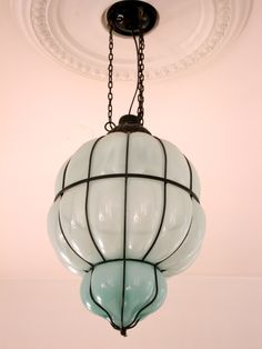 It would be easy to add detail on ceiling around any pendant lamp as in pic. (Blue Venetian Glass Pendant Lamp)