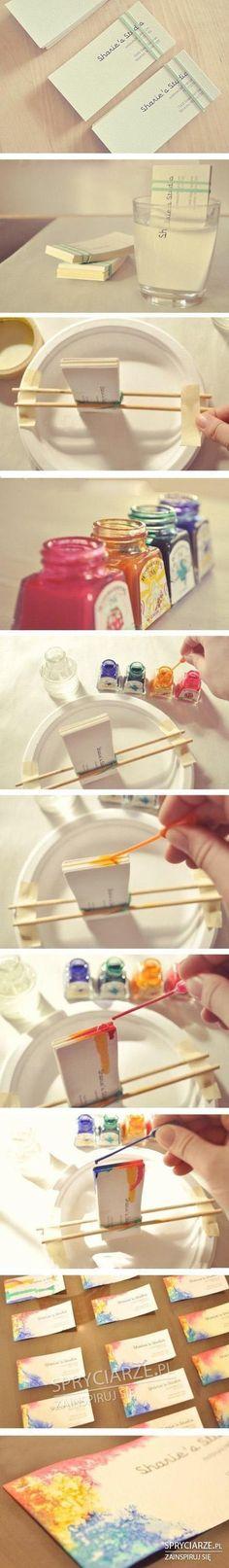 Wizytówki barwione ręcznie