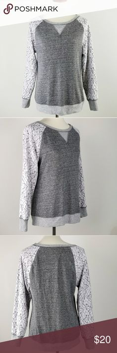 """Philosophy Gray and White Lace Sweater Gray sweater with floral lace (white with pink undertones) design sleeves  Size Large listed on Tag  Measurements Armpit to armpit: 19"""" Length from shoulder: 24"""" Sleeve length: 26"""" Philosophy Sweaters Crew & Scoop Necks"""