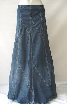 Long Denim Skirts | ... .com - Tell a Friend about our Rhombus Fringed Long Jean Skirt