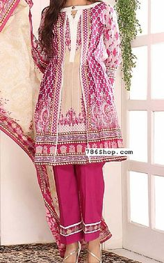Hot Pink Lawn Suit | Buy Sanoor Pakistani Dresses and Clothing online in USA, UK