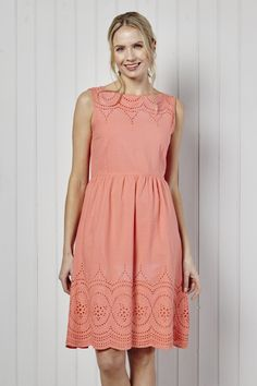 eff1c694e80 Margot Dress Plain Embroidered Coral Fit And Flare, Dress Up, Lily, Costume,