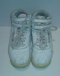 vintage #80s reebok aerobic high tops womens 5 1/2 white from $16.5
