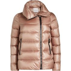Moncler Quilted Down Jacket (€939) ❤ liked on Polyvore featuring outerwear, jackets, pink, moncler jacket, moncler, pink jacket, quilted jackets and shiny jacket