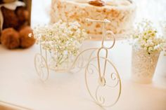 Vintage White Baby Shower decoration, bicycle