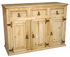 High Quality Rustic Pine Buffet   3 Door   3 Drawer