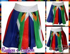 High waisted SA flag traditional skirt. Traditional Skirts, Traditional Outfits, Dress Making, Tie Dye Skirt, Custom Made, Flag, Fashion Design, Clothes, Dresses