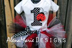 Little Lady Bug Custom 1st Birthday Tutu Outfit - Red, Black & White Tutu And Poka Dot Bow, Number 1, Lady Bug With A Matching Hair Bow $47.99