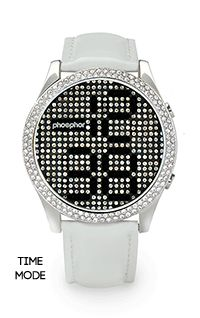 Phosphor Appear Black Crystal Watch with White Gloss Leather Strap $249