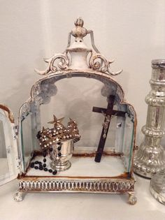 White rusted metal and glass accent display case/ by ShabbyHaus