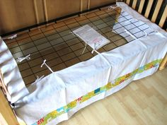 Custom Adjustable Crib Skirt. Smart because I can't stand when they drag the floor after you lower the crib.