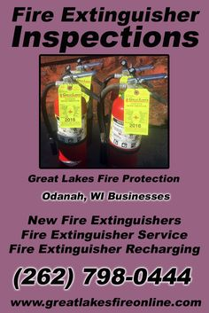 Fire Extinguisher Inspections Odanah, WI (262) 798-0444We're Great Lakes Fire Protection.. The Main Source for Fire Protection for Wisconsin Businesses. Call Today!  We would love to hear from you.