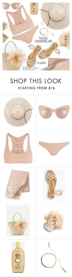 """Bare It All: Nude Swimwear"" by shoaleh-nia ❤ liked on Polyvore featuring Topshop, Klippan, J.Crew, WithChic, Philip Treacy, Sun Bum and Jiya"