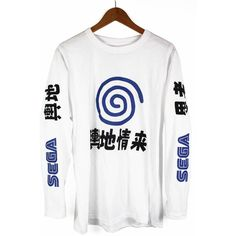 Sega Dreamcast Long Sleeve T Shirt Tee ($30) ❤ liked on Polyvore featuring tops, t-shirts, white t shirt, sega, long sleeve tops, long sleeve tees and white long sleeve top