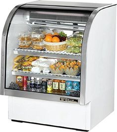 "#refrigerators #Curved #Glass Deli Case, 36-1/4""L, service type, self-contained refrigeration, gravity coil 55% RH, envir. 75°F, white aluminum sides & top interi..."
