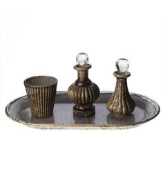 S_4 GLASS TRAY W_2 BOTTLES AND VOTIVE HOLDER 34X19X13