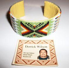 Native American Navajo Hand Made Beaded Leather Cuff Bracelet Derrick Wilson #Handmade #Navajo #Beadwork