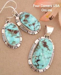 Four Corners USA Online Native American Artisan Jewelry - Dry Creek Turquoise Pendant Necklace Earring Set Native American Indian Silver Jewelry NAN-1410, $489.00 (http://stores.fourcornersusaonline.com/dry-creek-turquoise-pendant-necklace-earring-set-native-american-indian-silver-jewelry-nan-1410/)
