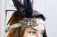 ROARING '20s PARTY   FLAPPER HEADBAND - same piece as in my wedding hair clip!