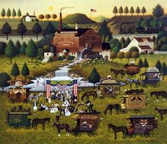 "RALLY AT DANDELION MILL by Charles Wysocki depicts an old-fashioned root beer festival. Is the photographer taking pictures of the winner of the blue ribbon? ""Root beer came on the scene in the early"