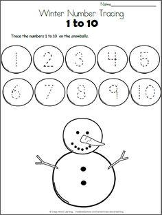 Snowball Math - Trace the Numbers to 10 - Madebyteachers Kindergarten Math Worksheets, Preschool Learning Activities, Kindergarten Writing, Preschool Activities, Alphabet Worksheets, Printable Worksheets, Numbers Preschool, Learning Numbers, Christmas Worksheets