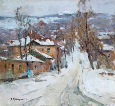 """Alexander Kriushin  Winter  Oil on canvas  24"""" x 26""""  (60 x 65 cm)  $1500    For more information about this artist visit www.silvanagallery.com"""
