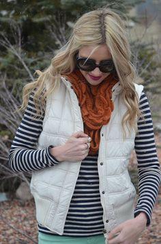 stripes + quilted vest