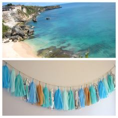 Beaches of Bali Tissue Paper Tassel Garland // Blue, Light Blue, Turquoise, Tan by homemadexojules on Etsy https://www.etsy.com/listing/185767169/beaches-of-bali-tissue-paper-tassel