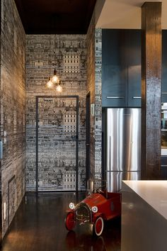 Fornasetti wallpaper in a loft apartment entry, designed by Alexandra Kidd Design Interior Wall Colors, Interior Walls, Interior Design, Fornasetti Wallpaper, Apartment Entry, Family Room, Home And Family, Black And White Wallpaper, Pent House