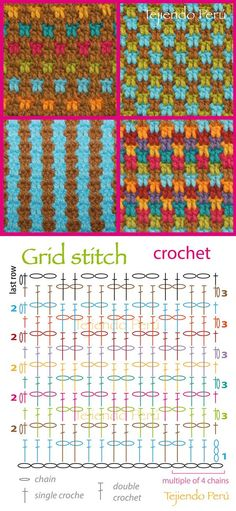 Crochet: grid stitch pattern (chart or diagram)! You can make a lot of combinations༺✿ƬⱤღ http://www.pinterest.com/teretegui/✿༻: