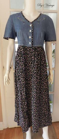 Check out this item in my Etsy shop https://www.etsy.com/ca/listing/603328203/vintage-floral-denim-long-dress-jean