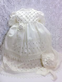 Emma christening gown/ Baptism Gown/ Ropon de by AVAandCOMPANY