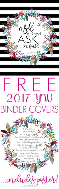 Get your FREE 2017 LDS Young Women Binder Cover with this years theme, complete with President, Counselor, and Secretary pages. A poster size YW Theme is also included, so cute!