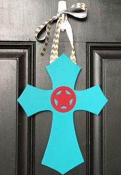 Turquoise Cross Door Hanger by OnParCraftCreations $15.00