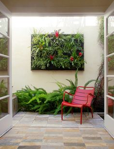 In the place of a much-photographed succulent panel garden, our friend Lisa Lee Benjamin worked with Jim Kumiega, our display manager here at the nursery, to create this outdoor framed Woolly Pocket garden in her tiny courtyard, below. I just love the way the exuberant foliage pushes past the boundaries of the frame yet the plants remain firmly rooted within it.