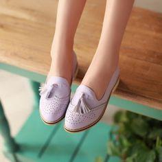 Colegio-Lindo-Para-Mujer-Chicas-Candy-Borla-Oxford-estilo-vintage-y-retro-Pump-Zapatos-Casuales