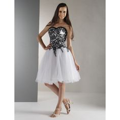 Ball+Gown+Strapless+Sweetheart+Knee+Length+Lace+Holiday+Dress+with+Beading+by+TS+Couture®+–+USD+$+255.00