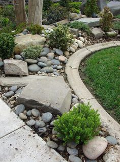 Front Yard Garden Design Amazing Modern Rock Garden Ideas For Backyard Landscaping With Rocks, Front Yard Landscaping, Backyard Landscaping, Landscaping Ideas, Backyard Ideas, Landscaping Software, Large Backyard, River Rock Landscaping, Rustic Backyard