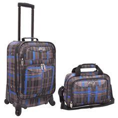 Traveler's Choice U.S. Traveler Grey/ Blue Plaid 2-piece Expandable Carry On Spinner Luggage Set