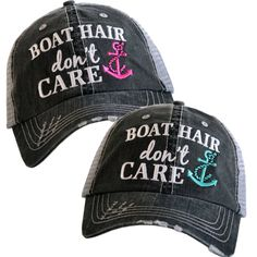 720bbd1915f Distressed Trucker Hat - Boat Hair Don t Care Cap -Custom Trucker Cap -  Trucker Hat - Baseball Cap - Embroidered Trucker - Snapback Hat - by ...