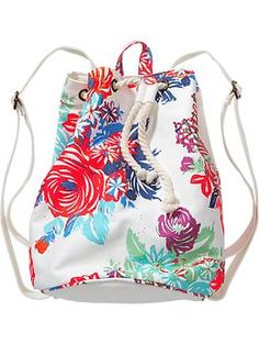 Girls Floral Canvas Backpacks | Old Navy