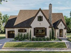 050H-0300: European Ranch House Plan; 1695 sf Modern Cottage Style, Cottage Style House Plans, Cottage Style Homes, Cottage Ideas, Farm House, Tudor House, Tudor Cottage, Lake Cottage, Best House Plans