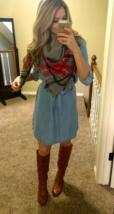 Chambray dress, blanket plaid scarf, boots
